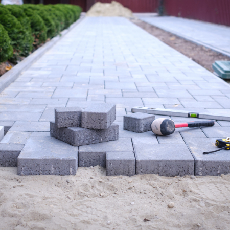 construction of new garden paths using block paving in stourport